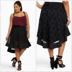 Torrid Hi Lo Velvet Skirt